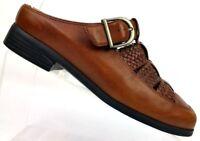 Ariat Brown Woven Leather Mule Slide Buckle Monk Strap 96829 Women's 6.5 B