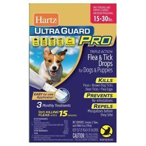 Hartz Ultraguard PRO 15-30 lbs Flea & Tick For Dogs & Puppies 3 App NEW  **READ*