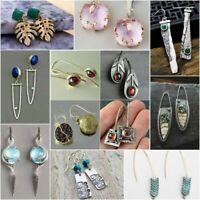 Elegant 925 Silver Turquoise Dangle Ear Hook Boho Hoop Women Engagement Earrings