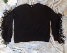 Pull and Bear Women Long Sleeve Black Velvet Tassel Sweatshirt Pullover Top SZ S