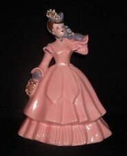 "Vtg Florence Ceramics ""Matilda"" Figure,Rose Dress, Fancy, Gold Spaghetti Accents"