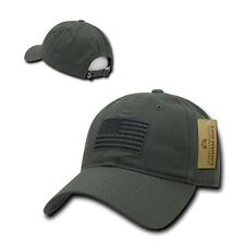 Olive USA US American Flag Patch United States America Polo Baseball Hat Cap