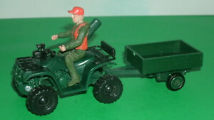 1/32 Scale Basic Four Wheeler ATV Bike w/ Rider and Trailer Plastic New-Ray Toy