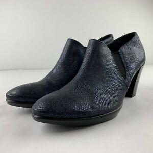ECCO Women 40 US 9 9.5 Navy Blue Iridescent Leather Heel Metallic Pump Career