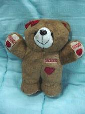 "Vtg-7.5""-Brown Tan Fur Bear-Snoggies-Red Bow Hearts-Stuffed Animal Toy Doll"