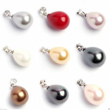 NEW Genuine 12x16mm Natural Colorful South Sea Shell Pearl Drop Necklace Pendant