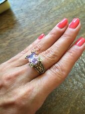 "NEW ""designer inspired"" Light Purple CZ Ring Floral detail & Pave Prong size 8"