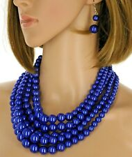 Multi Strand Bead Jewelry Earring Chain Super Chunky Blue Pearl Necklace Set