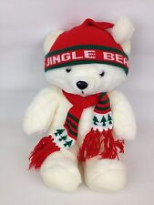 VTG 80s Jingle Bear AM&A's 23 inch Plush Holiday Christmas 1986 Toy Teddy White