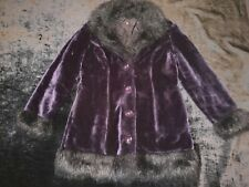 Rare Women's Vtg 90's Morbid Gothic Hot Topic Purple Velvety faux fur coat Large