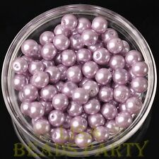 New 30pcs 8mm Round Glass Pearl Loose Spacer Beads Jewelry Making Baby Purple