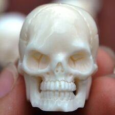 "3 pcs 1"" Head Skull Carved in Buffalo Bone Carving Bead Plastic Resin Inside"