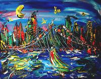 BLUE CITYSCAPE Abstract Modern Original Oil Painting by Mark Kazav  T6876