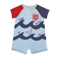 Mud Pie Sail Away Collection Whale and Waves Shortalls Boys Romper
