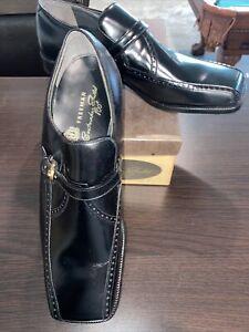 Vintage NOS NIB 70s Mens Freeman Bootmaker Guild 800's Black Loafer Sq Toe 10 C