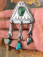 Wolf Robe Vintage & Rare Native American Sterling Silver Turquoise Pendant