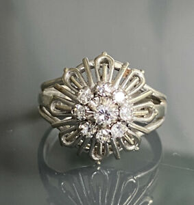 Antique Old Cut Diamond Flower Daisy 18ct Gold and Platinum French Ring