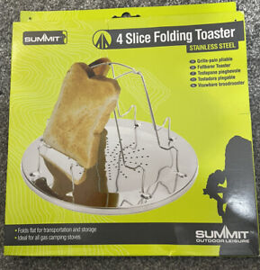 Summit 4 Slice Folding Toaster Fishing Camping Cooking Gas Hob Breakfast Cooker