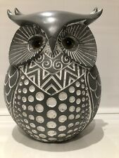 More details for shudehill giftware grey large country decorative owl ornament figurine