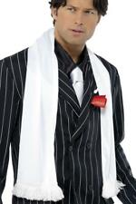MENS WHITE 1920s SCARF WITH TASSLES ADULT GANGSTER MAFIA FANCY DRESS ACCESSORY