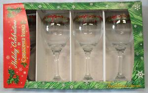 Christopher Rado Holiday Celebrations 14 oz Goblet Gold Trim, Set of 4