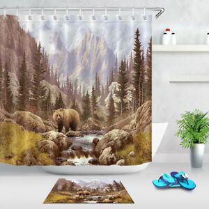 Grizzly Bear in the Rocky Mountain Shower Curtain Set Bathroom Polyester Fabric