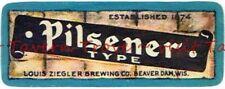 Rare 1930s WISCONSIN Beaver Dam ZIEGLER PILSENER TYPE BEER Neck Label