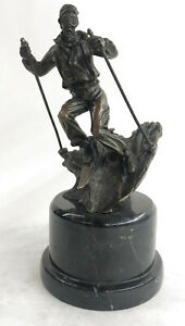 Hot Cast Sport Trophy Young Man Playing Ski Bronze Museum Quality Artwork