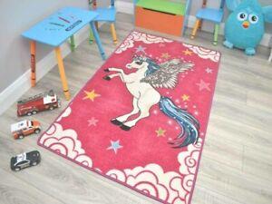 Girls Bright Pink Kids Unicorn Bedroom Bedside Small Medium Large Rugs Mat Cheap