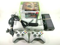 Microsoft XBox 360 Video Game Console w/ 8 Games, Wireless Adapter, Controllers