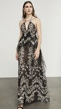 BCBG MAXAZRIA LETO Embroidered Floral Halter MAXI DRESS, Prom SIZE 0 NWT $498