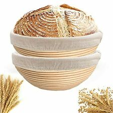 New listing 9 Inch Banneton Bread Proofing Basket for Professional and Home Bakers Round
