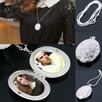Women Silver Plated Oval Photo Picture Locket Pendant Necklace Beauty Chain hy#1