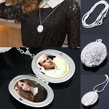 Women Silver Plated Oval Photo Picture Locket Pendant Necklace Chic Chain ED 15