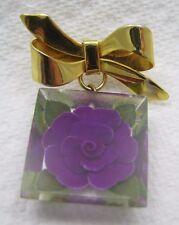Vintage Reverse Carved Purple Flower Lucite Plastic Brooch Pin