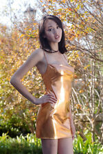 Copper Metallic Mini Dress/Pole Dancer/Clubwear/Rave/Porn/Model/Made in usa/s-m