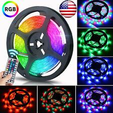 5M SMD RGB 3258 Waterproof 300 LED Strip Light 44 Key Remote 12V 2A US Power Kit