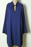 MANGO Kleid Gr. 34-36 dunkel-blau knielang A-Linie Langarm Blusen Kleid