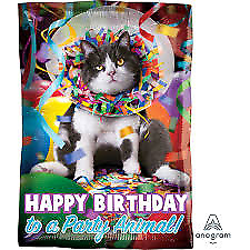 """New 17"""" x 12"""" Rectangle Foil Balloon Party Animal Cat Birthday - Sold Deflated"""