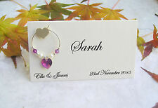 10 Personalised 3D Heart Place Name Cards.Wedding, Christening Wine Glass Charms