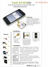 Genuine 3 simcard Triple Three Sim Card  holder Adapter Adaptor for I PHONE 4
