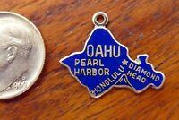 Vintage silver OAHU PEARL HARBOR HONOLULU DIAMOND HEAD HAWAII ENAMEL charm RARE