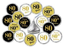 80th Birthday Kisses Labels Stickers Party Favors Set Of 324