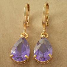 Drop Purple Womens Dangle Earrings Fashion Jewelry Yellow Gold Plated Water