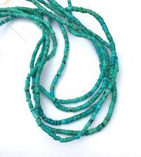"Natural HuBei Turquoise Beads, Tube, Turquoise, 3.5x1.5~3mm, Hole - 15.5"" strand"