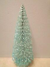 """8"""" Aqua Light Turquoise Blue Christmas Bottle Brush Tree Shabby Chic Glitter"""