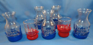 Makers Mark Bourbon Whiskey Cocktail Glass Red  &  Blue Wax Drip