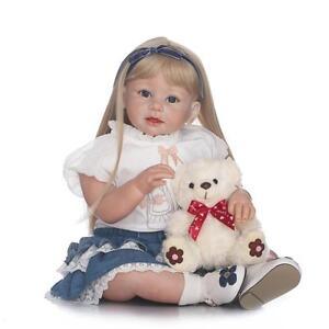 Xmas Gift 29'' Silicone Girls Toddler Blonde Hair Lifelike Model Reborn Dolls