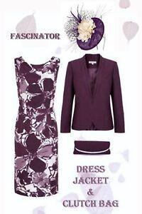 12/14 Jacques Vert Dress Jacket Bag Fascinator Plum Oyster Mother of the Bride