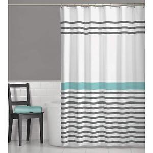 Maytex Contemporary Grey & Teal Turquoise Stripes Fabric Shower Curtain